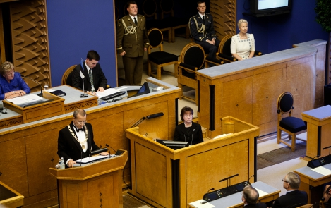 The President of the Republic of Estonia upon taking the oath of office before the Riigikogu, 10 October 2011