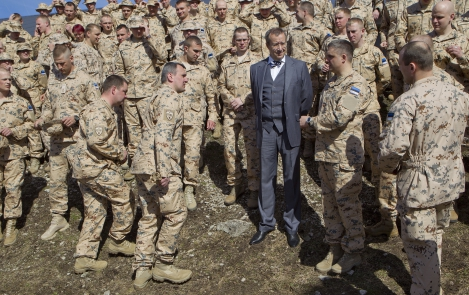 President Toomas Hendrik Ilves at a meeting with the Estonian Defence Forces infantry company Estcoy-16, which is heading to Afghanistan 22 April 2013, Paldiski